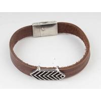 Aztec braun Leder Armband-Silber