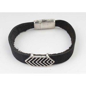 Armband Leder Aztec Schwarz-Silber