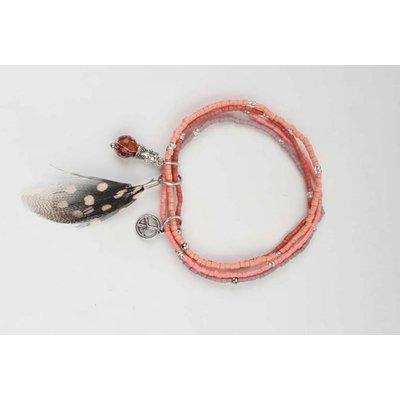 Multi row mini kralen armband roze (327798)
