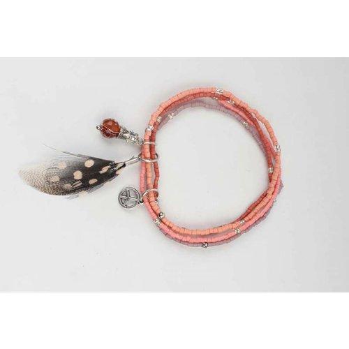 Multi Reihe Mini Perlen Armband pink