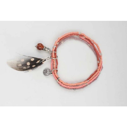 Multi row mini Beads Bracelet pink