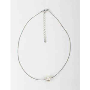 Weiße Perle Halskette Silber