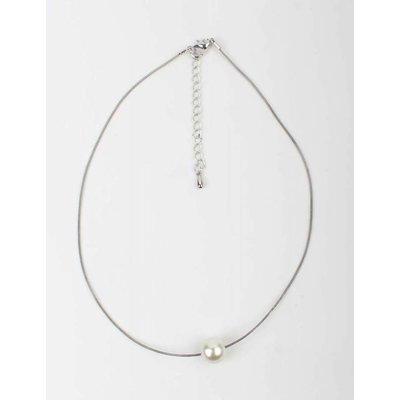 Weiße Perle Halskette Silber (318010)