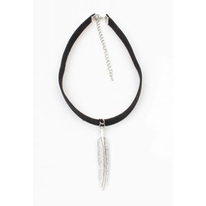 Choker with long spring old silver black