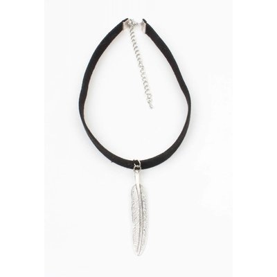Choker with long spring old silver black (318091)