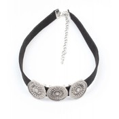 Black Choker with three metal coins (318095)