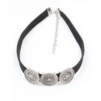 Black Choker with three metal coins