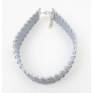 Choker with stitching pastel blue