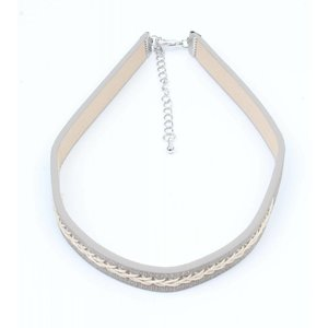 Choker with twisted stitching grey