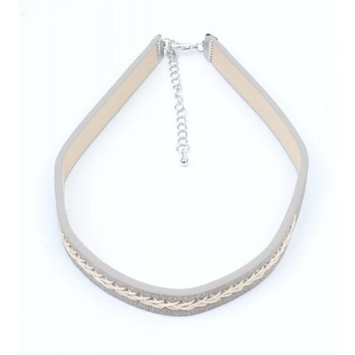 Choker with twisted stitching grey (318099)