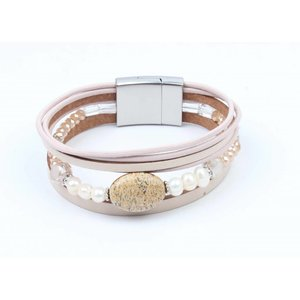 Bracelet leather with glass beads nude
