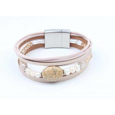 Leder Armband mit Glas Perlen nackt (327814)