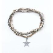 "3-row bracelet ""Star"" Hematite kakhi (327821)"