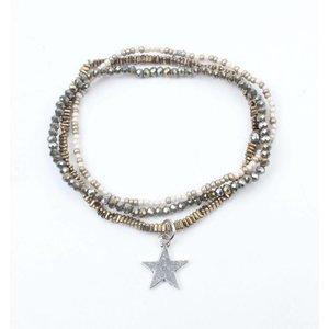 "Armband 3-rij ""Star"" hematiet kakhi"