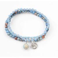 """Armband 3-rij """"Jasper"""" blauw"""