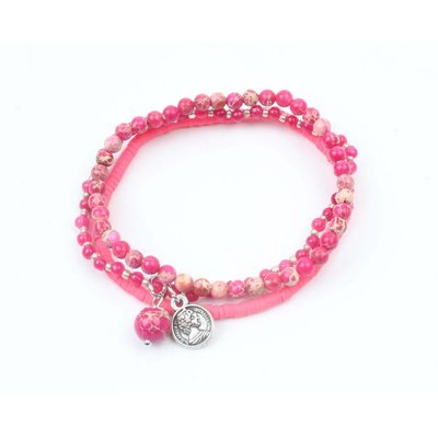 "3-row bracelet ""Jasper"" fuchsia (327856)"
