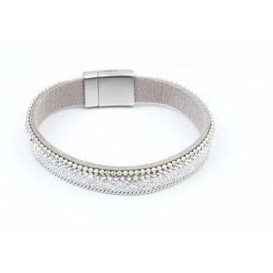 Armband met mat zilver net grijs