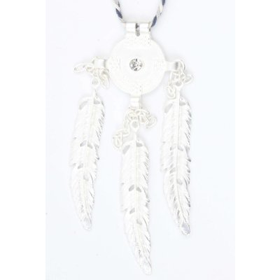 Braided necklace with metal springs blue (318085)