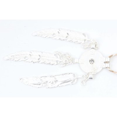 Geflochtene Halskette mit Metallfedern taupe (318085)