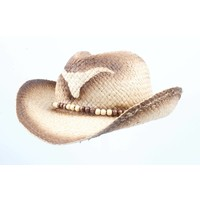 "Cowboy hat ""Longhorn"" with wooden beads"
