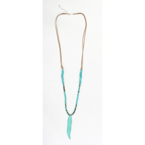 ' Feather ' turquoise stone necklace