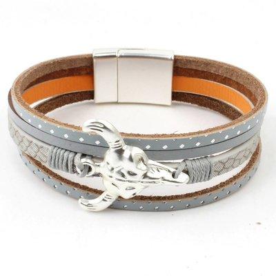 Bracelet mulit row ' Buffalo ' grey