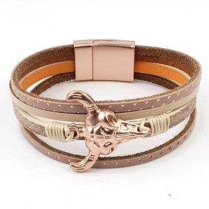 Armband mulit row 'Buffalo' taupe-rosé