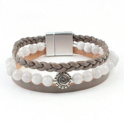 Armband multi row natuursteen grijs