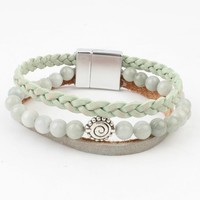 Stein-Mint Multi Zeile Armband