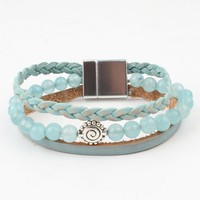 Armband multi row natuursteen aqua