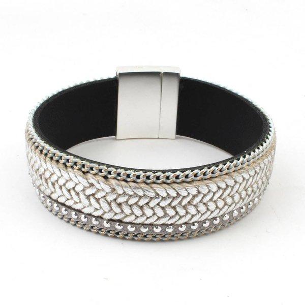 Armband breed 'strass' grijs