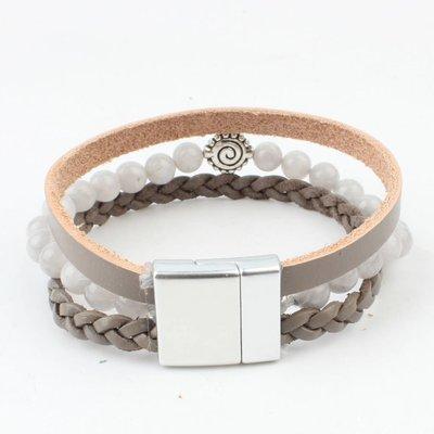Multi Zeile Armband natürliche steingrau