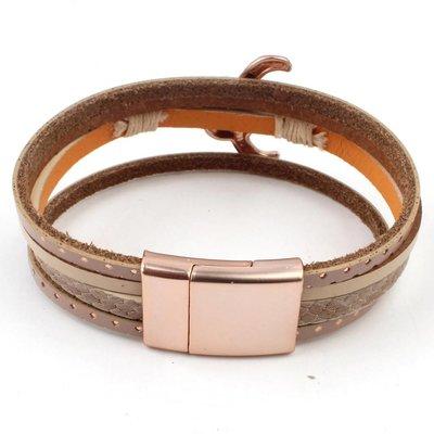 "Armband-Multi-Zeile ""Buffalo"" rosé Taupe-"
