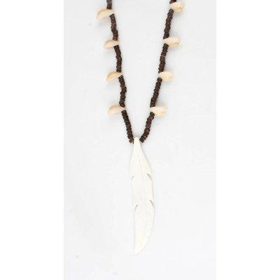Halskette aus Holz Perlen-Schale braun