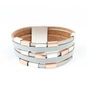 Learning multi row bracelet with metlalen tubes grey