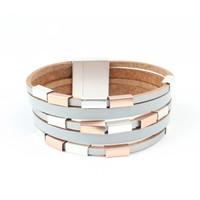 """Armband Multi Zeile """"Metall-Würfel"""" grau"""