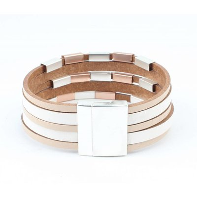 Lernen Multi Rohre Zeile Armband mit Metall taupe