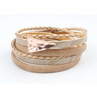 Armband multi row 'Triangle' taupe