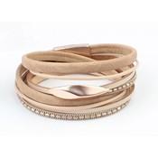 "Leder Armband mehrere Zeilen ""Oval"" Taupe-rosé"