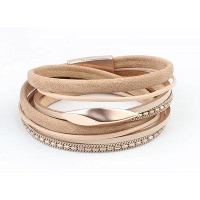 Leather Bracelet multi row ' Oval ' taupe-rosé