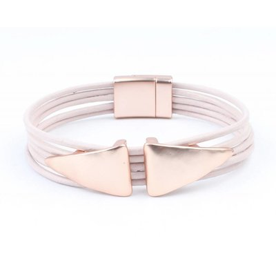 Learning multi row bracelet ' Double Triangle ' pink