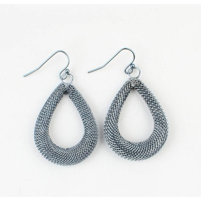 ' Drop ' metal earring sterling blue medium