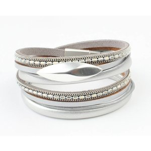 Bracelet multi row ' Oval ' grey