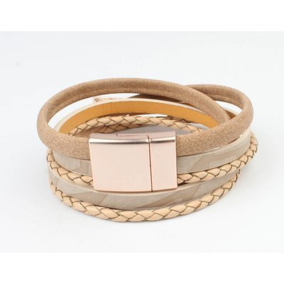 Leren armband multi row 'Triangle' taupe-rosé