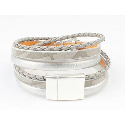 Lernen Multi Zeile Armband 'Dreieck' Grau-Silber