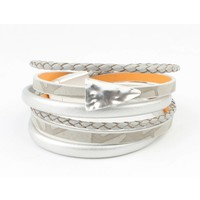 Bracelet multi row ' Triangle ' grey