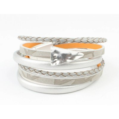 Leren multi row armband 'Triangle' grijs- zilver