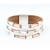 Leren multi row armband met metalen buisjes taupe