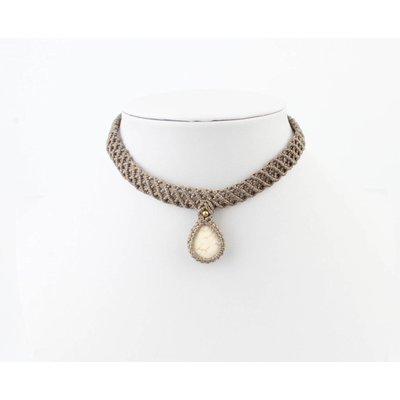Crocheted choker ' Stone ' taupe