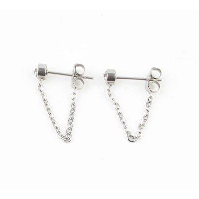 Earring stainless steel short necklace ' rhinestone '